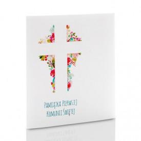 Mini-Album Komunijny TS krzyż na dwa zdjęcia 15x21 plus zakładka