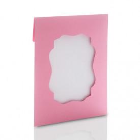 Ozdobna koperta na zdjęcia 15x21 lub 15x23 z okienkiem (róż)