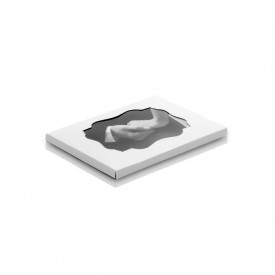 Teczka Kraft z okienkiem na zdjęcia 15x23 (biało-brązowa) plus rzepy