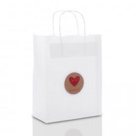 Biała torebka świąteczne serce (3 rozmiary do wyboru)