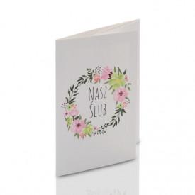 Mini-Album TS Nasz Ślub kwiaty na dwa zdjęcia 13x18 plus zakładka