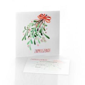 Zaproszenie na sesję świąteczną jemioła kolor (offset)